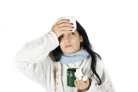 women sick with cold and flu